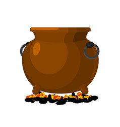 Boiler is on charcoal pot isolated big cauldron vector