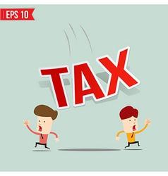 Businessman run away from tax burden vector