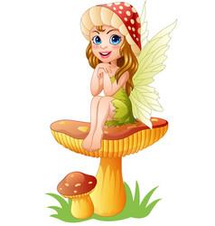 cartoon little fairy sitting on mushroom vector image