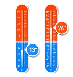 Celsius and Fahrenheit thermometers vector