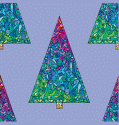 Christmas trees pattern happy new year seamless vector