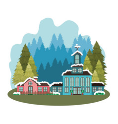 Church in neighborhood with pines falling snow vector