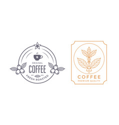 coffee house labels design with coffee branch vector image