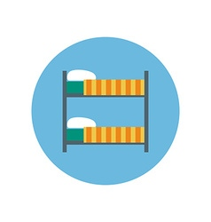Colorful Flat Design Loft Bed icon vector image