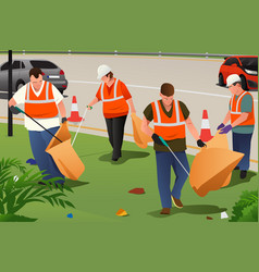Community cleaning on the roadside vector