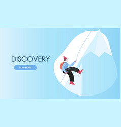 concept traveling man climbing on mountain flat vector image