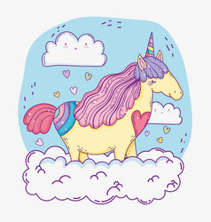 cute unicorn animal in the clouds with hearts vector image
