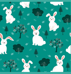 cute white rabbits the gang seamless pattern vector image