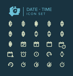 date and time icon set vector image