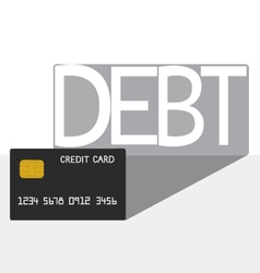 Debt concept Credit card debt shadow vector