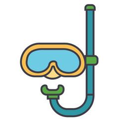 Diving mask flat line concept vector