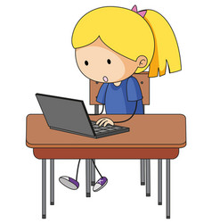 Doodle girl playing computer vector