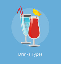 Drinks types elite cocktails with straws decorated vector