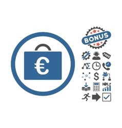 Euro Bookkeeping Case Flat Icon With Bonus vector