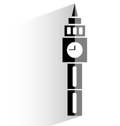 Flat clock tower icon on white background vector
