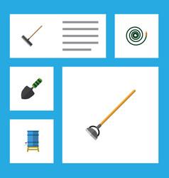 Flat icon farm set of tool harrow hosepipe and vector
