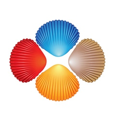 Four different colored seashells vector