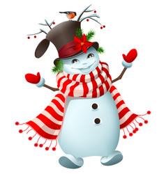 Funny snowman welcomes new year and christmas vector