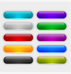 glossy web buttons set in different colors vector image