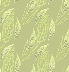 Green seamless pattern with ears of wheat vector