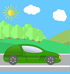 green sport car on a road on a sunny day vector image
