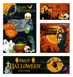 Halloween holiday trick or treat night banner vector