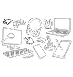 Hand drawn set of devices and workplace elements vector