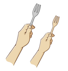 Hand holding a fork vector
