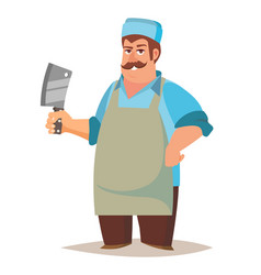 happy butcher standing butcher man with vector image