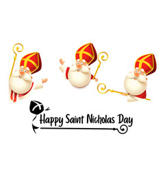 happy saint nicholas or sinterklaas day set vector image