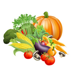 Healthy fresh produce vegetables vector