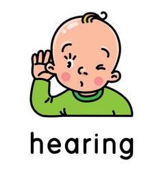 Hearing icon one five senses vector