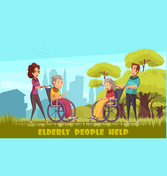 Help elderly disabled poster vector