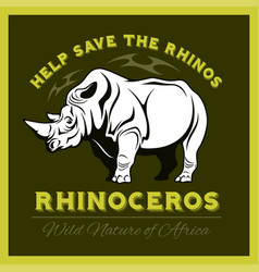 Help save and protect the endangered rhinos from vector