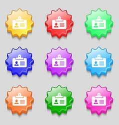 Identification card icon sign symbol on nine wavy vector