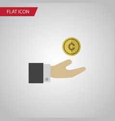 Isolated save money flat icon hand with coin vector