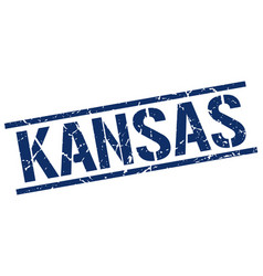 Kansas blue square stamp vector