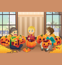 kids carving pumpkins vector image