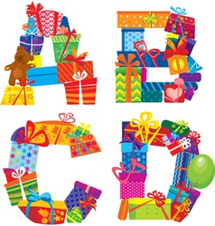 letters are made of gift boxes vector image vector image