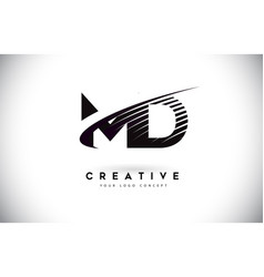 Md m d letter logo design with swoosh and black vector