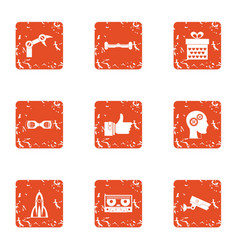 Mechanical paw icons set grunge style vector