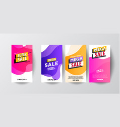 modern fluid mobile sale banners template set vector image