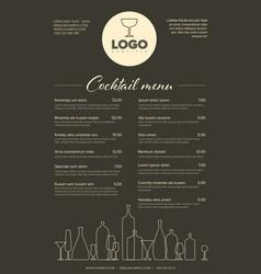 modern minimalistic cocktail menu template vector image