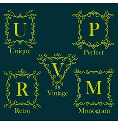 Monogram logos set vector image