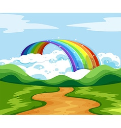 Nature scene with rainbow at the end of the road vector