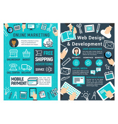 online marketing web design and development card vector image