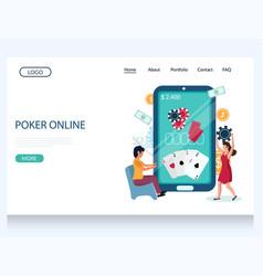 online poker website landing page design vector image