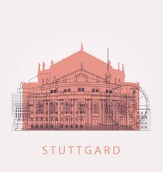 outline stuttgart skyline with landmarks vector image