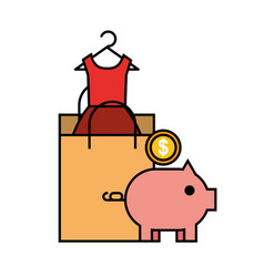 paper bag piggy bank money coin online shopping vector image