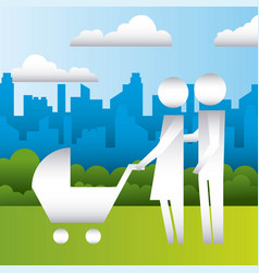 Parents with baby pram in the park family vector